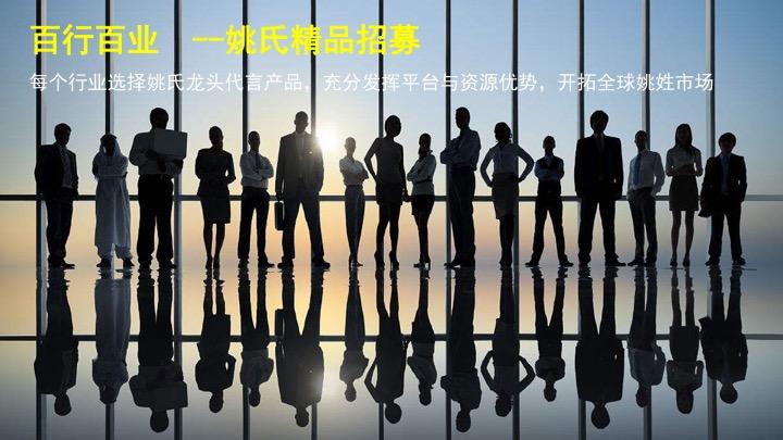 每个行业选择姚氏龙头代言产品,充分发挥平台与资源优势,开拓全球姚姓市场